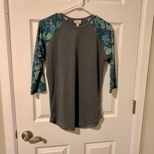 LuLaRoe - Randy Gray and Teal Patterned 3/4 Top